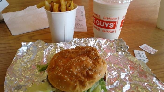 There are no combos at Five Guys. Everything a la carte.