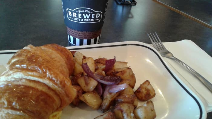 With a side of red potatoes and a coffee