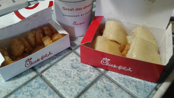 Chick Fil A mini meals come with tater tots and coffee
