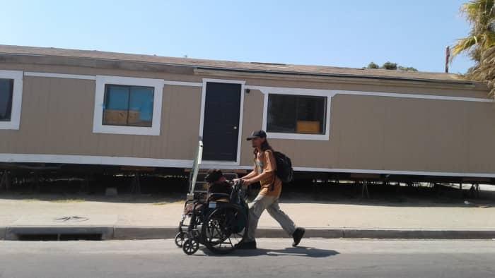 Pushing a friend past through the trailer park
