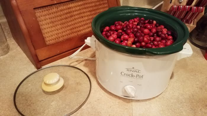 I started by pouring my fresh cranberries into my small crockpot.