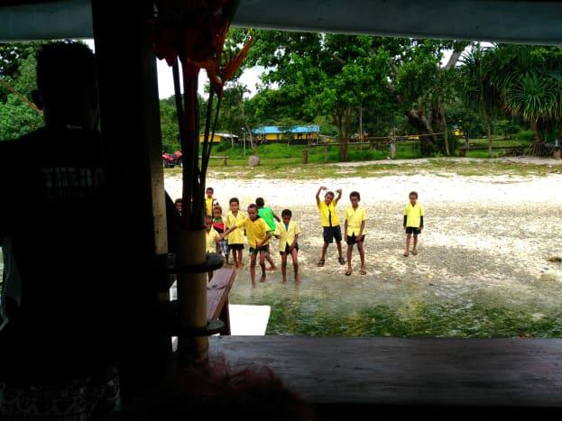 School children waiting for treats