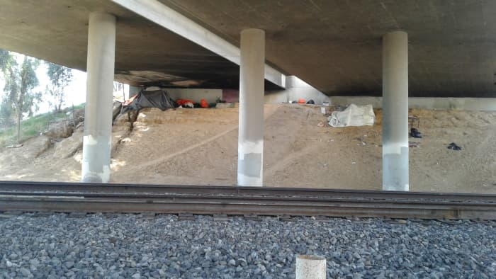 A dwelling under the security of a freeway overpass