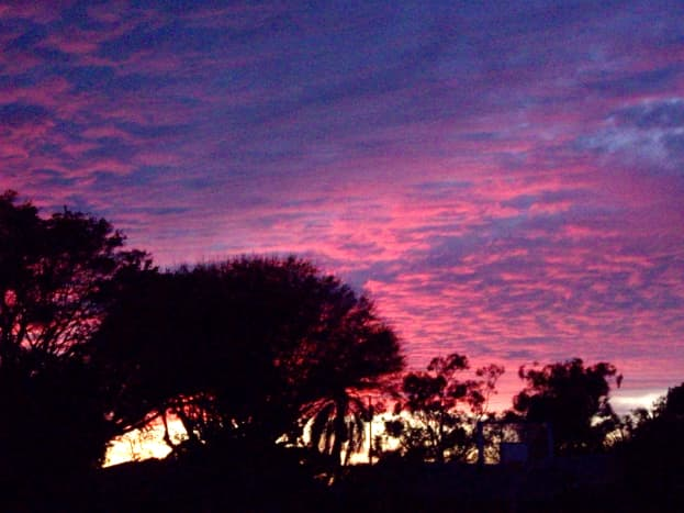View from my window at dusk (mottled Marshmallow sky).