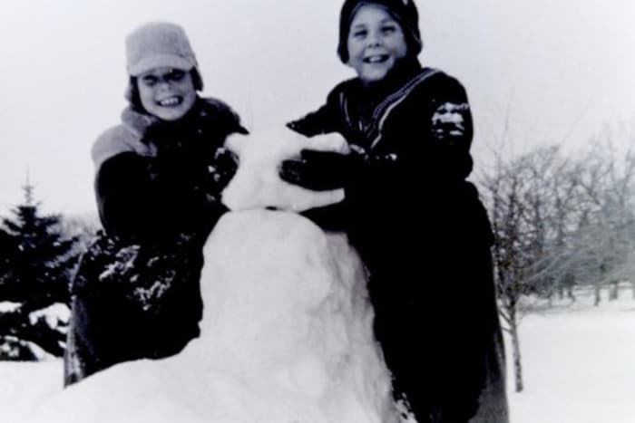 My brothers Jimmy and Johnny playing in the snow in Wisconsin in the 1950s