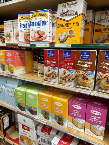 Assorted baking mix from churros, pancakes, beignets, cakes, and bread