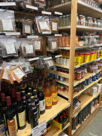 Olive oil, truffle oil, spices, and apple cider vinegars