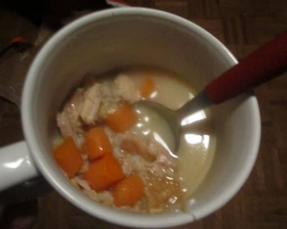 homemade turkey and rice soup, heavy on the carrots