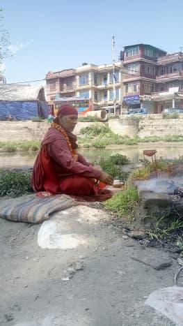 Ojraj Lohani on the Bank of Bagmati
