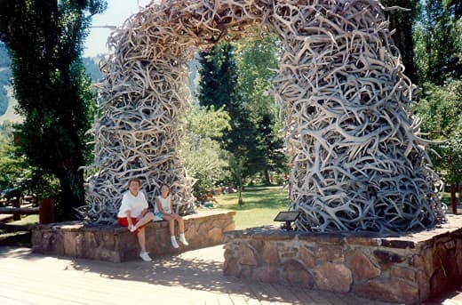 One of four arches made up of elk horns in the center of town