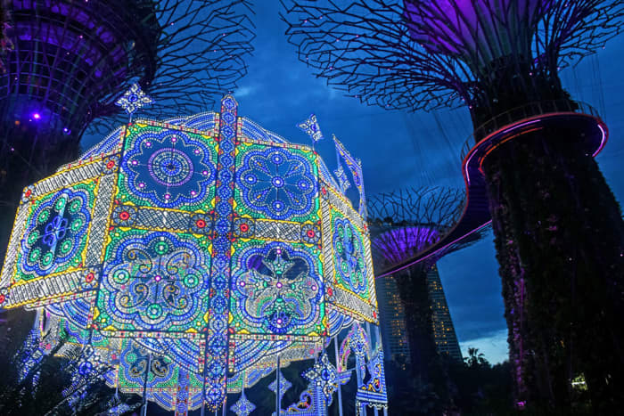 Singapore's world famous Gardens by the Bay hosts elaborate Christmas events each year. The centerpiece of this celebration is always an immense Italian luminarie.