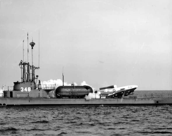 A Loon, the U.S. version of the V-1 launching from the USS Cuzk, 1951.