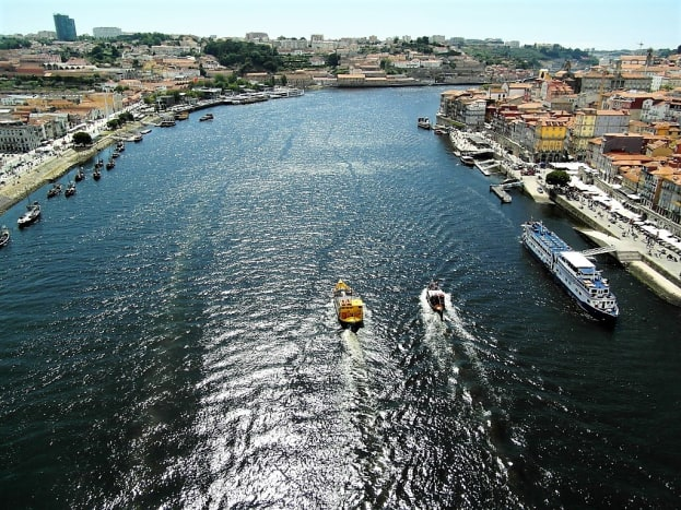 View of the River Douro from the upper level of Ponte de Dom Luis 1, Porto.