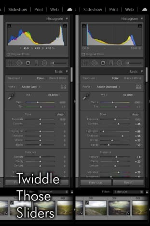 Once you've applied the preset, you'll notice all the sliders on the right panel have altered ... that's all a preset is! Twiddle and make your own!