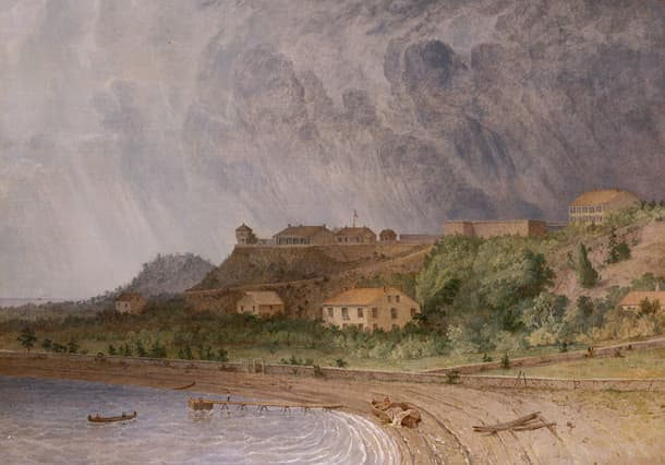Painting of Fort Mackinac by artist Seth Eastman
