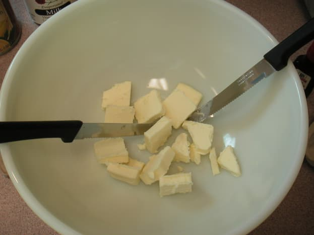 Cut the butter into smaller pieces to speed up the softening process.