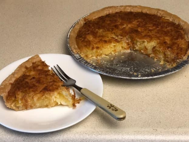 Slice of pineapple coconut pie
