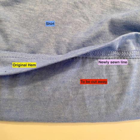 Sew parallel to the original hem