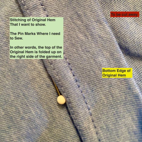 Here is the folded hem. I need to stitch a new line where the pin lies. Please see the next thumbnail.