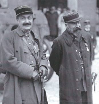 Interrogator Capt. Pierre Bouchardon (left) and prosecutor Capt. André Mornet, looking pleased with themselves on the day of Mata Hari's execution
