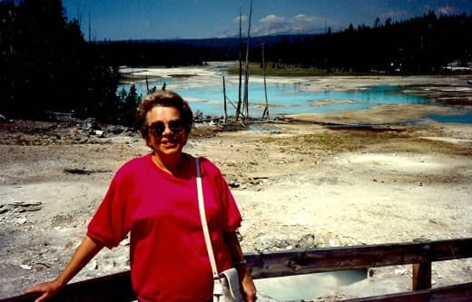 My mother in the Porcelain Basin area of Yellowstone