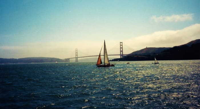 Sailboat with Golden Gate Bridge in background