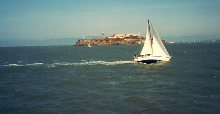 Sailboats with Alcatraz in the distance