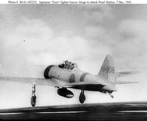 Pearl Harbor Attack, 1941. One of many attacking Mitsubishi A6M2 Zeros.