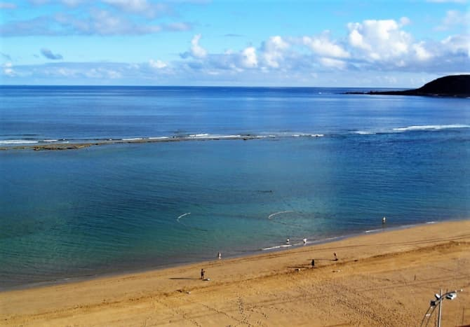 Sheltered waters of Playa de las Canteras.