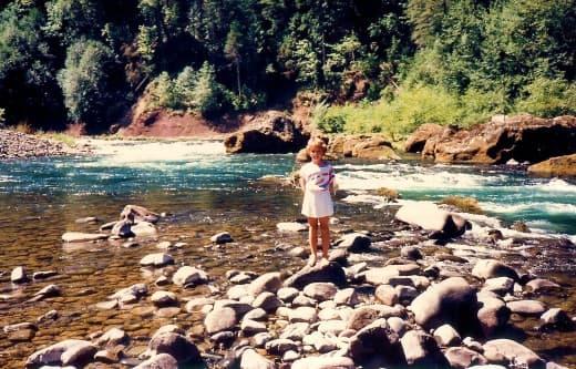 My niece at the scenic Umpqua River