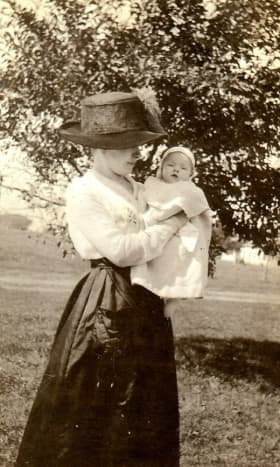 1919 photo of my mother-in-law as a baby with her mother, who is the person getting married in this story.