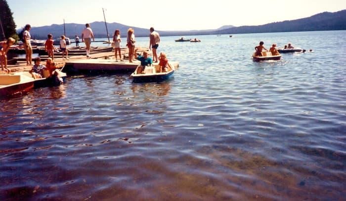 Paddle boats on Diamond Lake