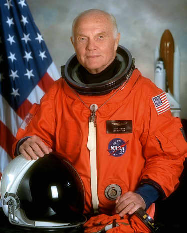 In space at age 77. Senator John Herschel Glenn Jr. flew again on October 29, 1998 for mission STS-95 - US Space Shuttle Discovery.