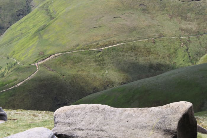 Looking down on the Pennine Way from Kinder Scout knowing that's where you're heading