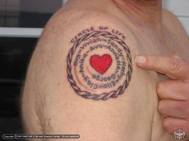 Family names surrounding a heart.