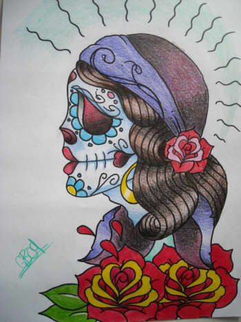 Old-school Day of the Dead gypsy sketch.