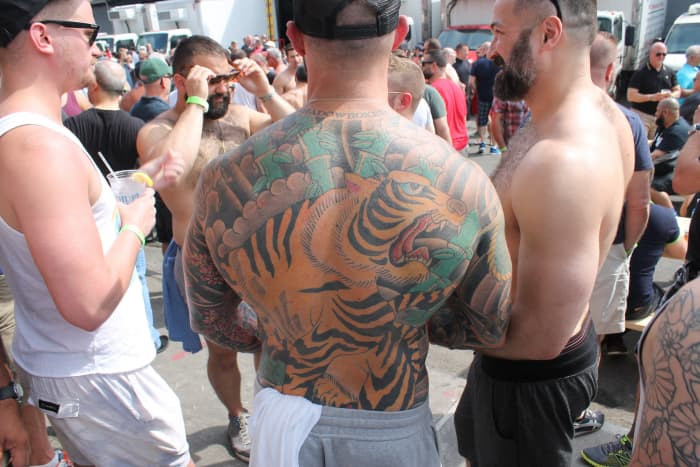 Huge tiger back tattoo at the Urban Bear Street Fair.
