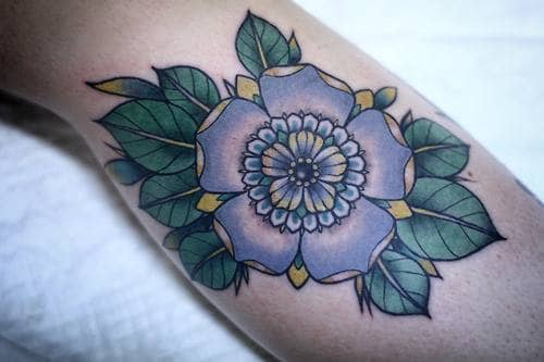 Flower tattoo on arm