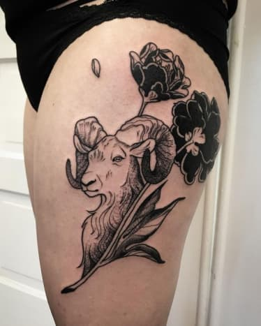Ram tattoo by Kala Warman