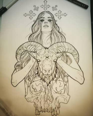 Aries darkside tattoo sketch by Dave Olteanu
