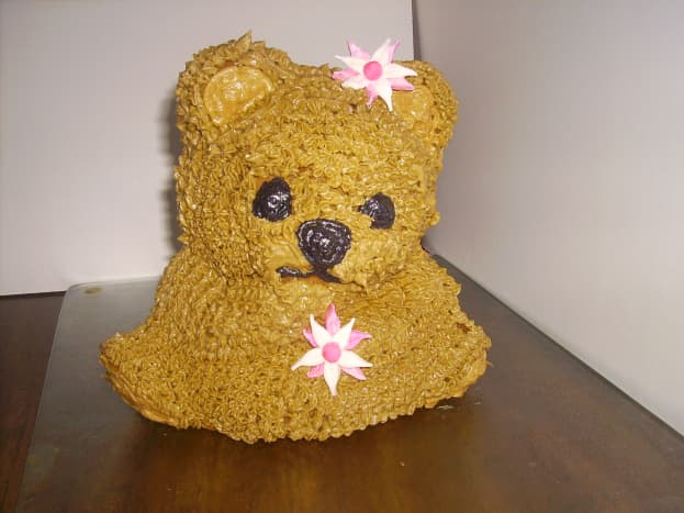 This was my first attempt, in which I did not use enough batter. Don't make this mistake, or your bear will be pawless!