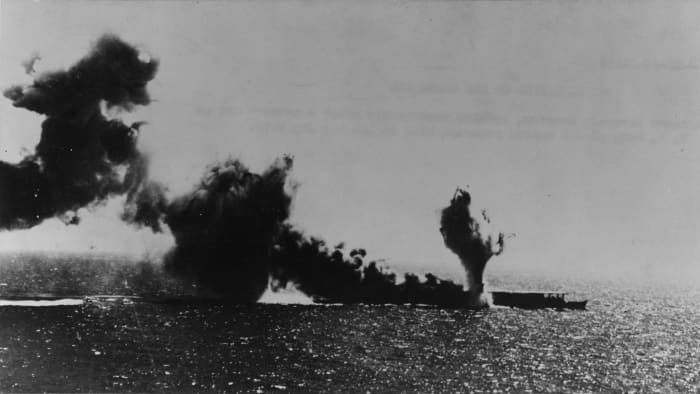 The Shoho is bombed and torpedoed by American carrier aircraft during the Battle of the Coral Sea.