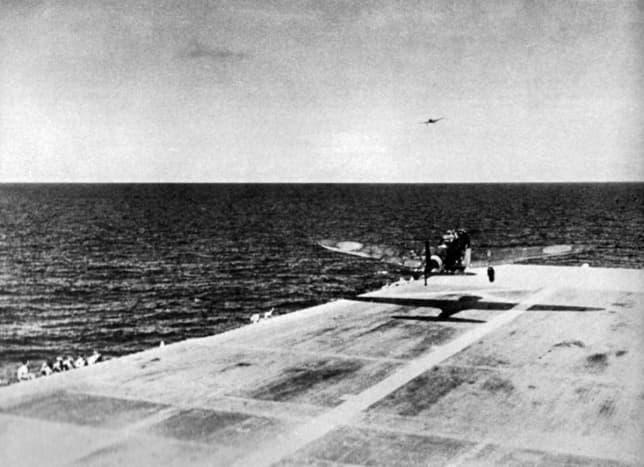"A Nakajima B5N2 ""Kate"" taking off from Zuikaku to attack Pearl Harbor December 7, 1941."