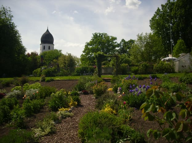 View of the Glockenturm of Benedictine Monastery from the garden fence where I took the photo.