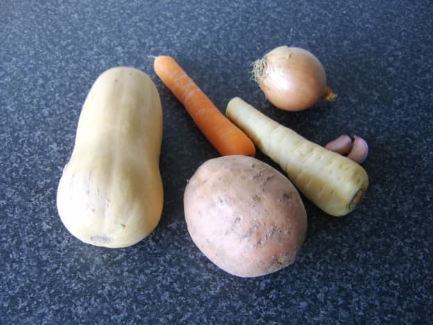 Principal ingredients for the butternut squash stew