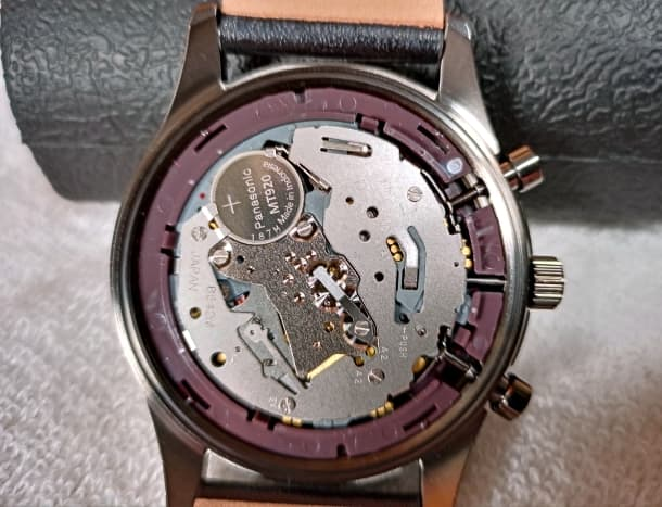 An Eco-Drive B642M movement powered by a Panasonic MT920 rechargeable capacitor.
