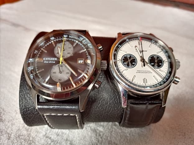 A Brycen Chronograph strapped alongside a mechanical powered (Seagull) Sugess Chronograph
