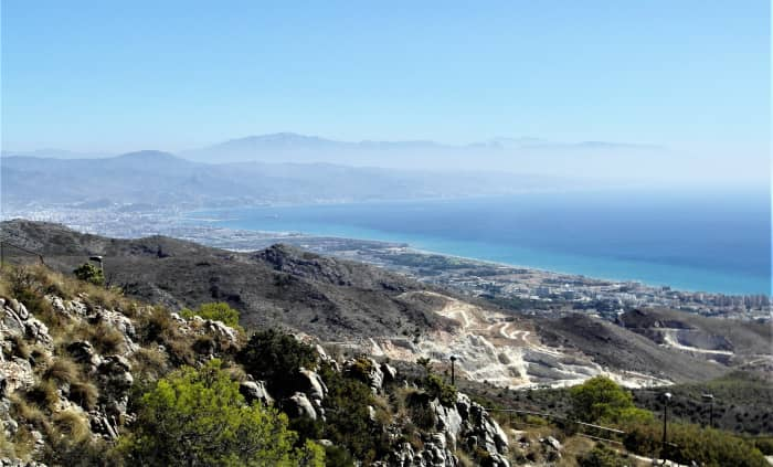 The coastline from Torremolinos to Malaga and beyond.