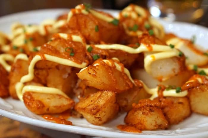 Spanish fried potatoes with spicy sauce