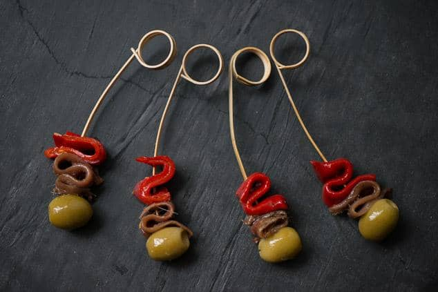 Olive, anchovy, and piquillo skewers